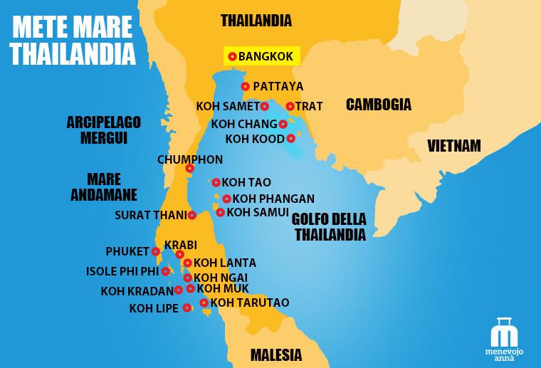 Mappa Mete Thailandia Mare