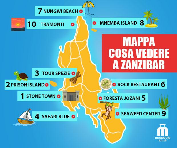 mappa cosa vedere a Zanzibar